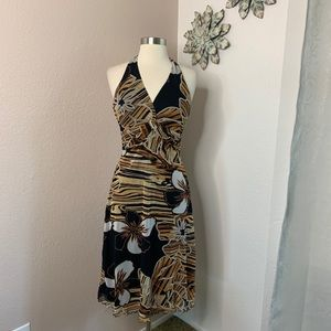 Cache Halter Backless Dress Animal/Floral Print